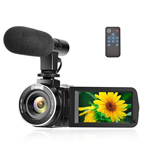 Caméscope Caméra Full HD 1080P 30FPS Caméra Vidéo Numérique Pause Fonction Caméra Vlogging avec Microphone Externe et Télécommand