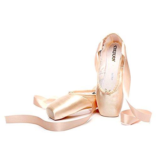 TAIYCYXGAN Damen Mädchen Spitzenschuhe Ballettschuhe Tanzschuhe weich Ballettschläppchen Ballett Trainings Schläppchen Gold EU 29