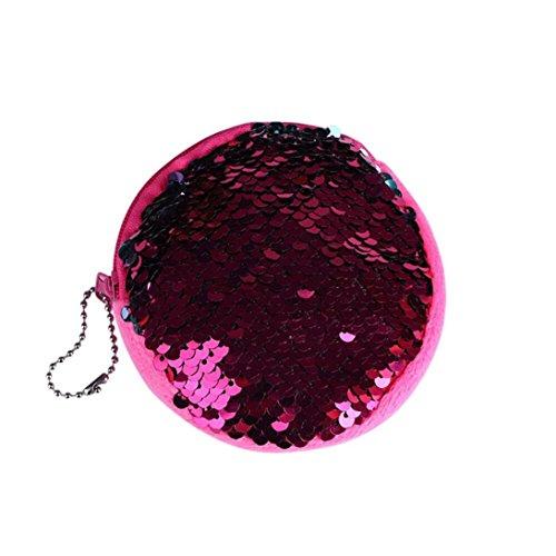 Malloom® Unisex Mädchen Mode Doppel Farbe Pailletten Tasche Münze Brieftasche Damen Geldbörse Tasche (heiß rosa) -