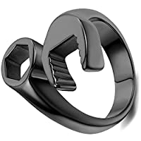 Flongo Punk Rock Stainless Steel Mens Mechanic Wrench Tool Ring for Biker Size Z1,Black Color