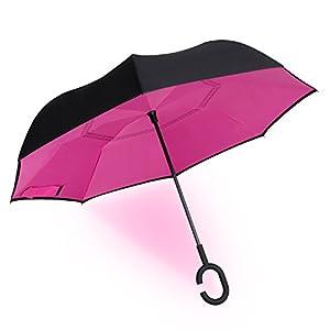 Parapluie Inversé Innovant Manuel Asika Parasol Robuste Résistant à la Chaleur avec les Toiles Double Couches avec Poignée C,idéal pour Libérer les Mains (Violet)