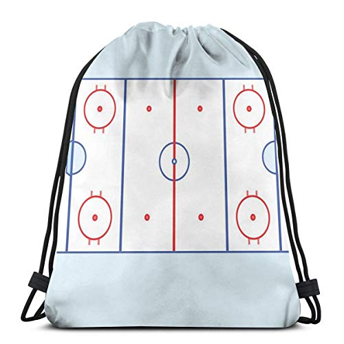 Juzijiang Drawstring Shoulder Backpack Travel Daypack Gym Bag Sport Yoga,Ice Hockey Field In Blue Tones and Red Graphic Outline for Sport Events,5 Liter Capacity,Adjustable. -