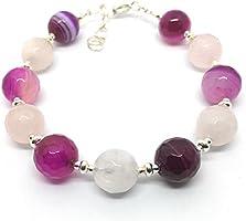 Braccialetto d'argento, agata rosa e quarzo rosa