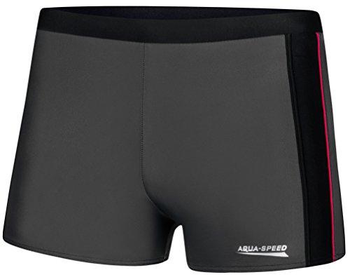 Aqua Speed® Jason Herren Badehose   Schwimmhose   S-XXXL   Modern   Malaga Gewebe UV-Schutz   Chlor resistent   Kordelzug, Größe:S, Farbe:Gray/Black/Red Piping
