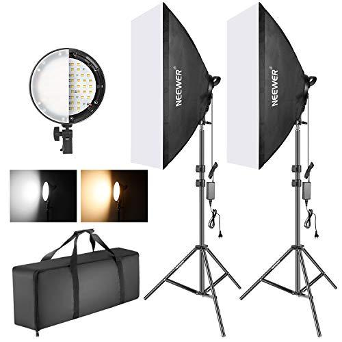 Neewer Foto Zweifarbige dimmbare LED Softbox Beleuchtung 20x27 Zoll 45W LED-Lichtkopf mit 2 Farbtemperatur und Lichtstativ für Foto-Studio-Portrait...
