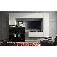 Wohnwand FUTURE 8 Anbauwand Moderne Wohnwand, Hochglanz Schwarz/ Hochglanz  Weiß Exklusive Mediamöbel, TV