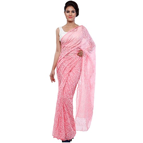 Bds Chikan Georgette Saree (Bds00045_Pink)