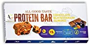 AG Taste 15G Protein Bar-Glutenfree, Sugarfree Chocolate Blackcurrant Almond -270 g (6x45g), Pack of 6 bars- M