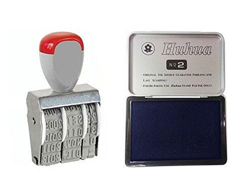 Vetrineinrete Timbro datario con tampone di inchiostro blu 2 pezzi timbro manuale con data giorno mese anno con cuscinetto inchiostrato per ufficio casa G19