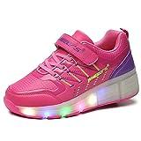 Kinder Schuhe mit Rollen Skateboardschuhe für Jungen Mädchen Rollschuhe Sportschuhe Turnschuhe Laufschuhe Sneakers mit Rollen LED Wheels Schuhe Rot 33