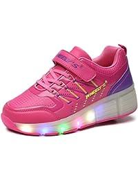 COSHOES Kinder Schuhe mit Rollen Skateboardschuhe für Jungen Mädchen Rollschuhe Sportschuhe Turnschuhe Laufschuhe Sneakers mit Rollen LED Wheels Schuhe 30-38