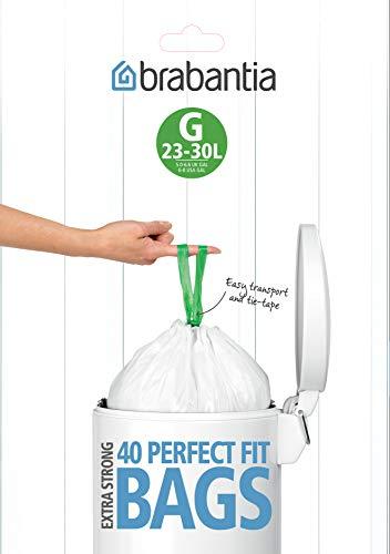 Brabantia perfectfit bags g sacchetti per spazzatura, 23/30l, bianco, dispenser da 40 sacchetti