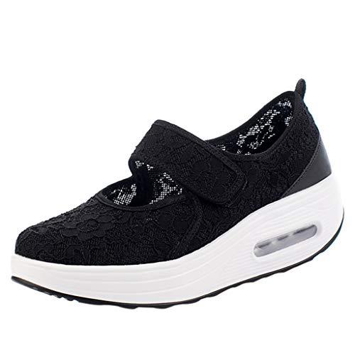 SCEMARK Damen Turnschuhe Mode Beiläufig Spitze Atmungsaktiv Leichte Schuhe Sport Laufschuhe Schuhe anziehen Luftkissen Bewegung Laufschuhe