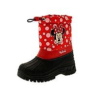Disney Kids Girls Minnie Mouse Tie Top Waterproof Rain Snow Boots Wellies Wellingtons Wellys Size UK 7-13