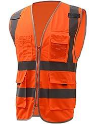Panegy Gilet de Sécurité Travail Réfléchissant Haute Visibilité Fermeture Eclair avec Qautre Poches Multifonctionnel Veste Réfléchissant Chantier Construction Transport L / Orange