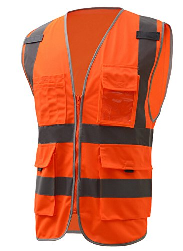 Preisvergleich Produktbild Panegy Adult's Multi Pockets Sleeveless High Visibility Zipper Front Safety Vest with Reflective Strips Neon Orange XL by Panegy