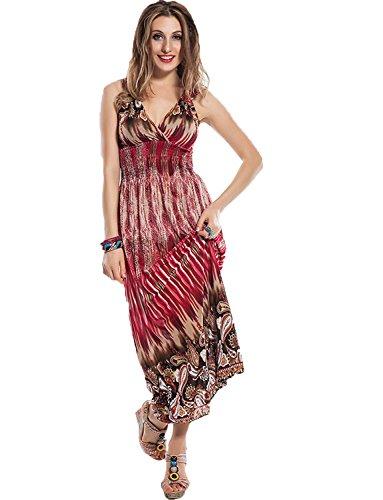 Yummy Bee Maxikleid Sommer Kleid Lang Partykleid Urlaubsmode Ärmellos Größe 36-48 (Rot, 36)