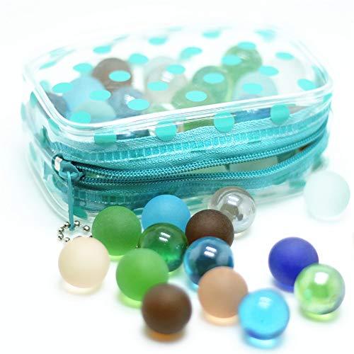 the GreatTony Glasmurmeln, Planetenmurmeln, 16mm 50 Murmeln mit Polka Dot Tasche mit Zipps, Kinder