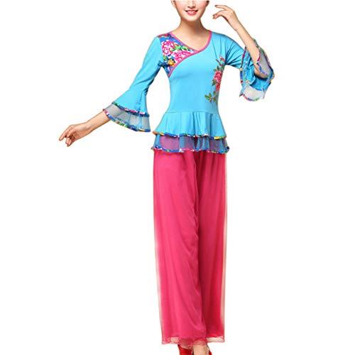Tenthree Chinesischer Nationaltanz Set Bekleidung - Frauen Klassik Tanzen Square Dance Bühnenperformance Slim Fit Elegant Kostüm