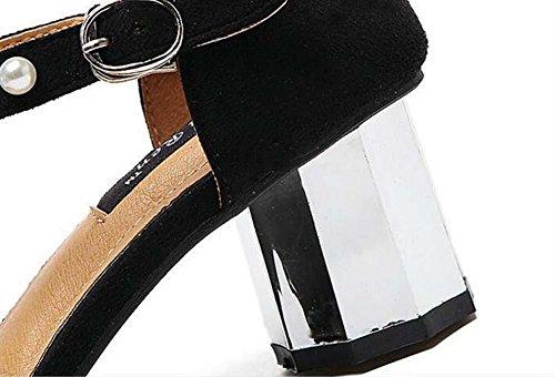 Pumps Chunky Heels 2 Schicht Pearl Ankel Strap Sandalen Dame Mode Einfach Quadratische Zehe Offener Zeh Gürtelschnalle Abendschuhe Gerichte Schuhe Lässige Schuhe Eu Größe 35-39 Black