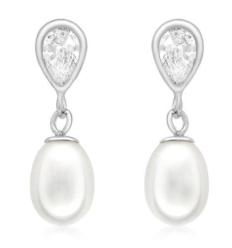 Pendientes de oro blanco de 9 quilates con perla y cierre de mariposa.