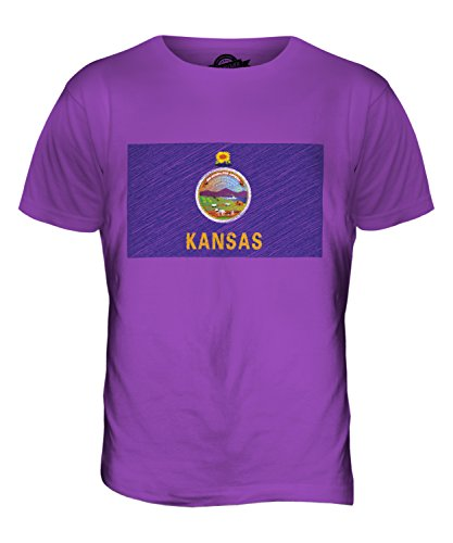 CandyMix Kansas State Bandiera Scarabocchio T-Shirt da Uomo Maglietta Viola