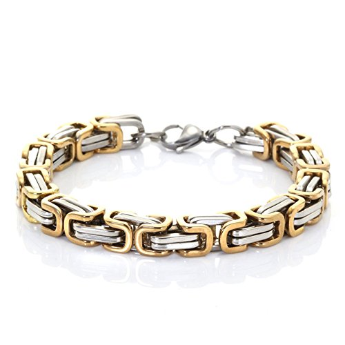 (AmDxD Herren Armband Titanstahl Handhandgelenk Kette Herrenarmband 19CM Gold)