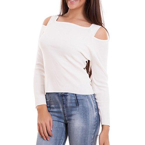 Maglia donna elasticizzata manica lunga sottogiacca spalle nude nuova TR3708 [S/M,bianco] Bianco