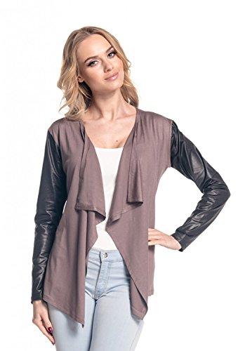 Glamour Empire Damen Wasserfall-Jacke Shirtjacke mit Ärmeln aus Kunstleder. 098 Cappuccino