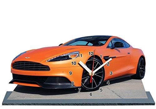 Voiture Miniature Aston Martin Orange en Horloge Miniature sur Socle 04