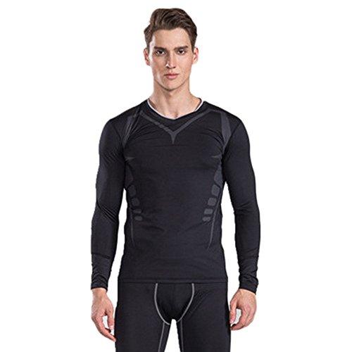 SOLELING Maglietta Uomo, Maglia a Manica Lunga Compressione T Shirt Sportiva per Corsa Ciclismo Fitness
