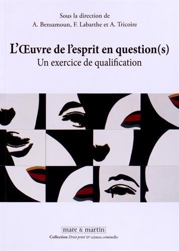 L'oeuvre de l'esprit en questions (s): Un exercice de qualification.
