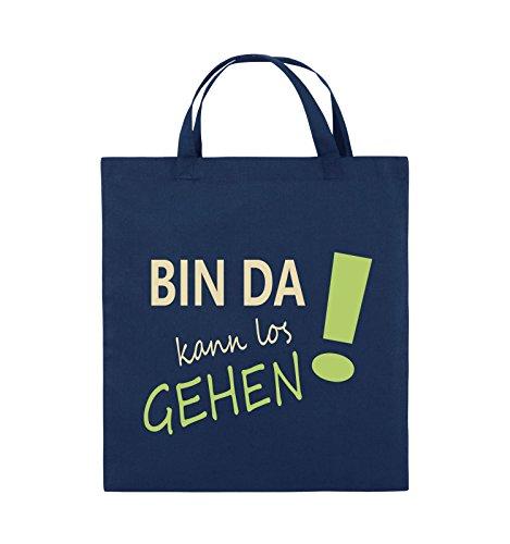 Comedy Bags - Bin da kann los gehen! - Jutebeutel - kurze Henkel - 38x42cm - Farbe: Schwarz / Weiss-Neongrün Navy / Beige-Hellgrün