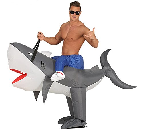 aufblasbares Hai Aufsitz Kostüm Tierkostüm für Erwachsene, Größe:L