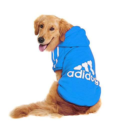Rdc Pet Large Dog Hoodies, Apparel, Fleece Adidog Hoodie Sweater, Cotton Jacket Sweat Shirt Coat from 3XL to 9XL for Large Dog Medium Dog (Blue, 8XL)