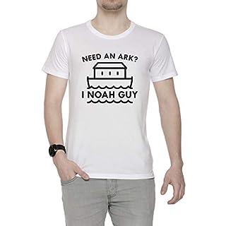 Need An Ark Herren T-Shirt Rundhals Weiß Kurzarm Größe S Men's White Small Size S