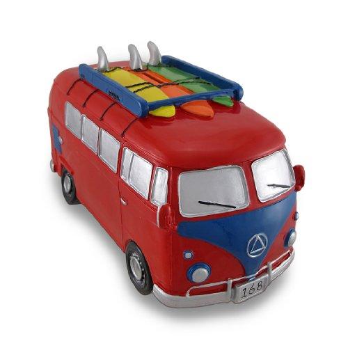 Rot & Blau Surfer Van große Spardose Bus