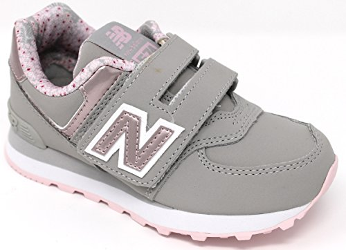 New Balance 574v1, Baskets Mixte Enfant Gris (Grey/pink)