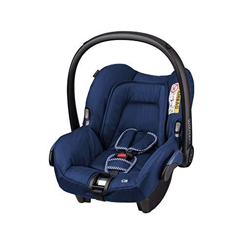 Maxi-Cosi Citi Babyschale, federleichter Baby-Autositz Gruppe 0+ (0-13 kg), nutzbar ab der Geburt bis ca. 12 Monate, River Blue (blau) (Schaukel Zu Seite Von Seite Baby)