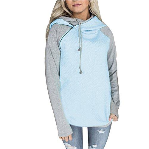 Your Gallery Damen Zip Tunnel Neck Drawstring Hoody Raglan Langarm Pullover Sweatshirt Hoodies - Blau - X-Large - Raglan Hoodie Sweatshirt