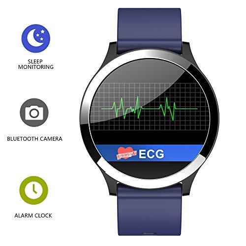 Smart Bracciale Fitness Tracker, Schermo Rotondo ECG Pressione arteriosa frequenza cardiaca Multi-Sports modalità di Assistenza remota per iOS, Android,Blue