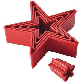 Cake Boss Nylon Baking Cutters Set - Star Shape, 5-Piece, Red
