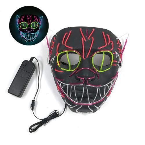 myonly Halloween Maske Elvis Ghost Cosplay Maske Licht LED Glow Scary EL Draht bis Masken Halloween Led Halloween (Elvis Halloween)