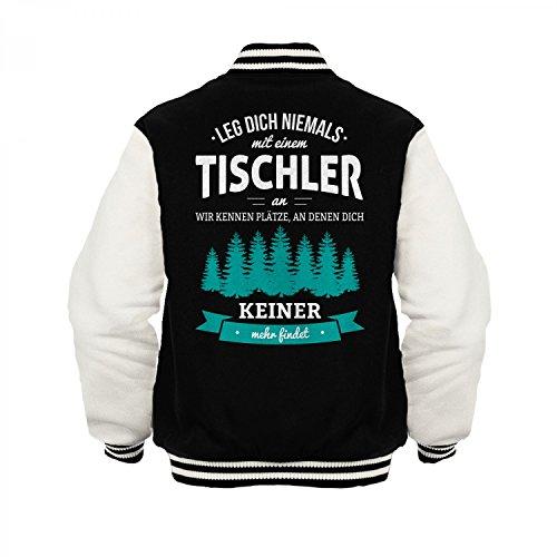 Fashionalarm Herren College Jacke - Leg dich niemals mit einem Tischler an | Varsity Baseball Jacket | Sweatjacke als Geschenk Idee Beruf, Farbe:schwarz / weiß;Größe:3XL