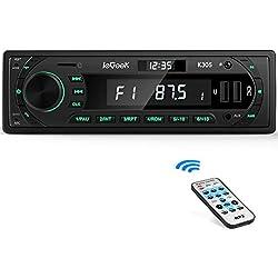 ieGeek Autoradio Bluetooth Mains Libres Fond 7 Couleurs, LCD avec Horloge, Supporte USB/AUX in/MP3/FLAC/SD/FM/AM/RDS Stéréo Radio de Voiture (30 Stations de Mémoire)