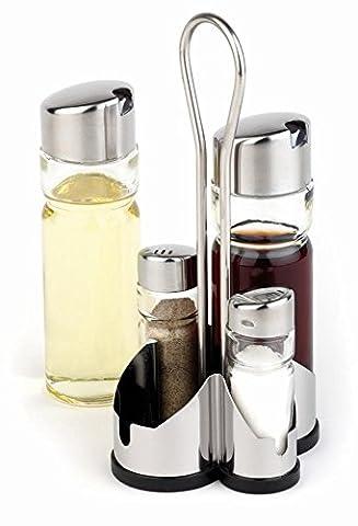 APS CF297 Complete Cruet Set and Stand for Salt, Pepper,