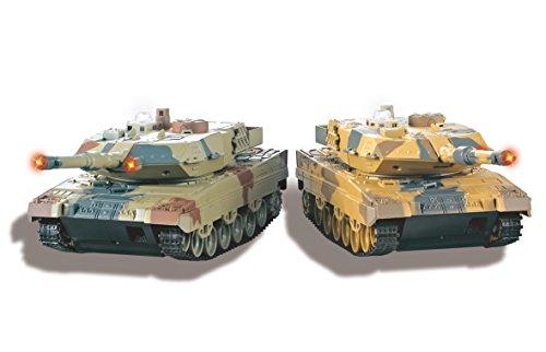 Jamara 403634 - Panzer Battle Set Leopard II 2.4 Ghz - extrem wendig und hohe Kletterfähigkeit, Geschützfeuer, Maschinengewehrfeuer, Infrarot Battlemodus mit simulierter Schadensanzeige, Demomodus