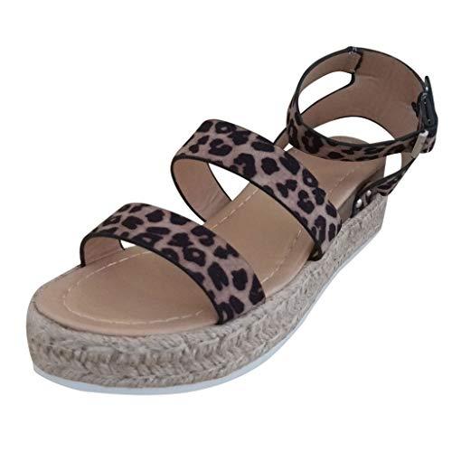 BURFLY Mode Damen Schuhe, Sommer Frauen Leoparden Keil Strohboden Wohnungen Open Toe Knöchel Ditopen Unteren Riemen Schnalle Römischen Sandalen (Strapse Outdoor Research)