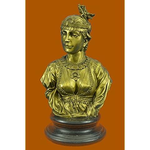 Statua di bronzo Scultura...Spedizione Gratuita...Egyptian Lady Le Caire Con Cordier femminile busto(STE-581C-UK)Statue Figurine Figurine Nude per ufficio e casa Décor Primo Giorno Collezionismo