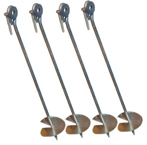 Bodenanker eindrehbar für Schaukel etc. 58 cm verzinkt von LoggyLand® (4er-Set)